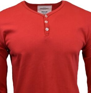 Henley-Long-Sleeve-Shirt-Mens-S-M-L-XL-Slim-Fit-Casual-Top-3-Buttons-100-Cotton