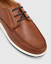 Hush Puppies Dusty Dark Tan Leather Lace Up Casual Dress Shoes Mens