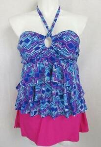 06a10d52ddc Collections by Catalina Size 1X Women's Tiered Ruffle Tankini Top w ...