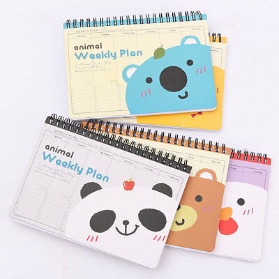 Cute Animal Coil Weekly Planner Mom's Agenda Schedule Journal Notepad Plan Diary