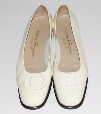 SALVATORE FERRAGAMO~PATENT LEATHER *SIGNATURE BUCKLE* COMFORT FLAT SHOES~9.5B