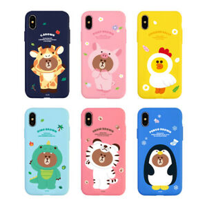 pretty nice 77b1a b5f7d Details about LINE FRIENDS Jungle Brown Soft Slim Bumper Phone Case Cover  For Apple iPhone X
