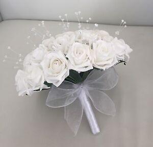 Image Is Loading Artificial White Foam Rose Bride Wedding Flowers Bouquet