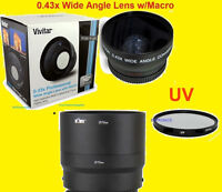 0.43x Wide Angle Lens 72mm+uv Filter + Adapter For Camera Fuji S9150 S 9150