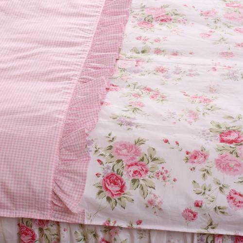 4 PCS Pink Rose Floral//Check Princess Bedding Duvet Comforter Cover Set Style L