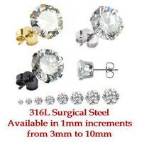 CZ Gem Stud Earrings 3mm,4mm,5mm,6mm,7mm,8mm,9mm,10mm in Steel, Gold or Black