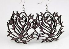 New Purple Rose Theme Artisan Artist Laser Wood Nickel Free Earrings