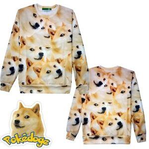 s l300 cute doge meme funny joke dog round neck shirt long sleeve loose