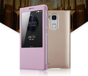 Luxury-Slim-Flip-Pu-Leather-Window-Hard-Case-Cover-For-Huawei-Mobile-Phone