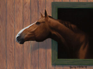 Original Acrylic Painting of a Horse 9x12 Portrait by Timothy Stanford