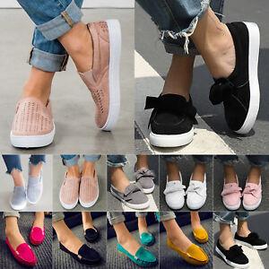 Piatta-Da-Donna-Scarpe-Basse-Mocassino-Tempo-Libero-Slippers-loafer-Sneaker-slittamento-scarpe