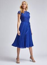 Dorothy Perkins Womens Blue Pleat Alice Lace Midi Dress Short Sleeve Round Neck