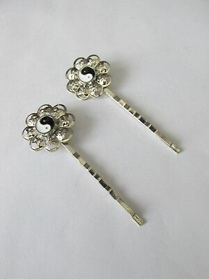 2pcs Molletta Capelli Grip Con 8mm Yin Yang Gioielli Craft Uk-