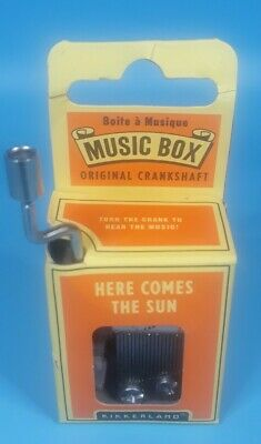 Sankyo Synthetic Leather Wind Up Music Box  ♫ HERE COMES THE SUN @ BEATLES ♫