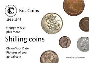 1711-1946 GEORGE V & VI plus + more SILVER Shillings Chose the date of your coin