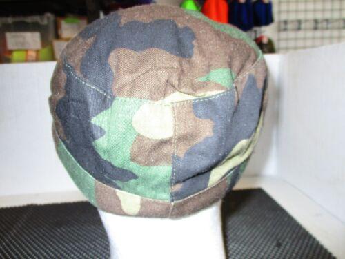 ONE WOODLANDS CAMO COMBAT BDU CAP-GREEN FLEECE LINED EAR FLAPS-SZ 7 3//4 UNISSUED