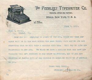 1895 PEERLESS TYPEWRITER Co. LETTERHEAD Antique Schreibmaschine Vtg Graphic Ad