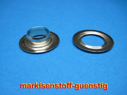 100 Ösen aus Messing 16 mm mit Scheibe vernickelt Neu L9116