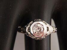 Vintage Art Deco Diamond Ring 18K Filigree  .58 ct Old Mine Cut L/I1 Engagement