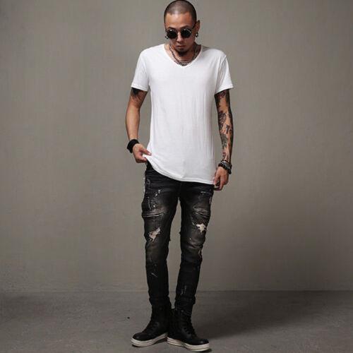 Men/'s Distressed Ripped Jeans Moto Biker Denim Pants Slim Fit Frayed Trousers US