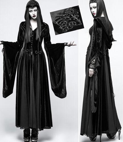 Manteau robe velours gothique lolita sorcière baroque mitaines capuche PunkRave