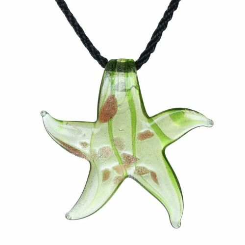 Handmade Lampwork Murano Glass Round Flower Starfish Pendant Necklace Jewelry