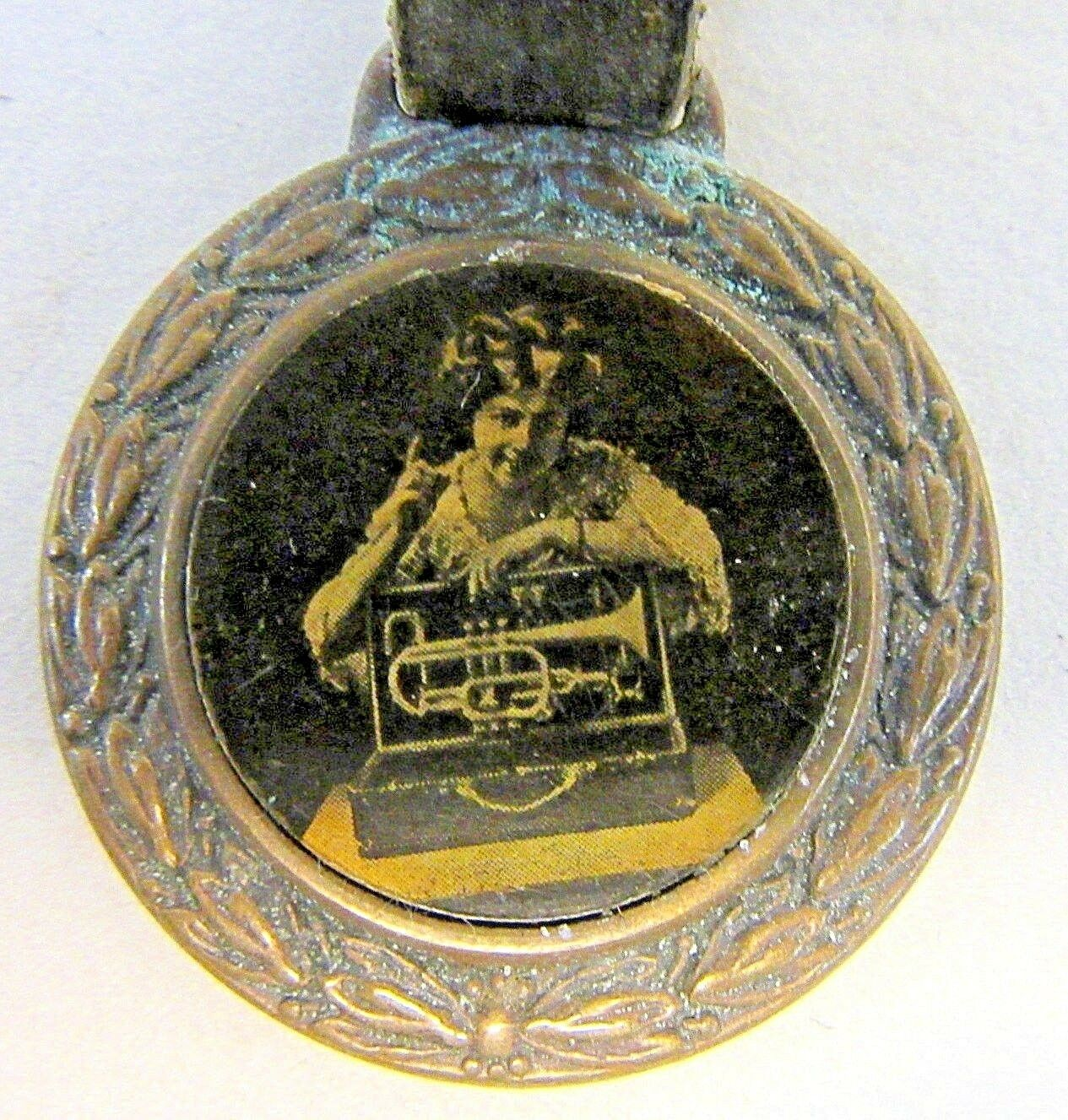 C.1900 H. N. Weiß KING BOOSTER CORNET Cleveland OH celluloid watch fob w  strap