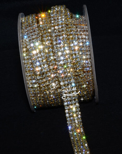 4row crystal rhinestone close chain trims golden x 1 yard