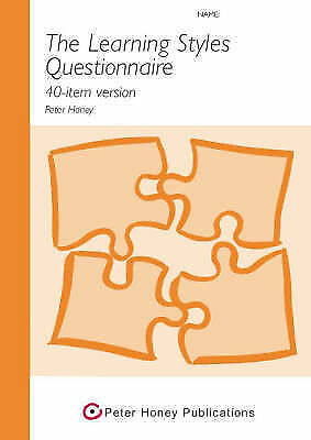The Learning Styles Questionnaire 40-item Version, Honey, Peter, Very Good Book