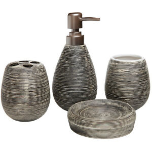 Dark Brown Ceramic Soap Dish, Soap Dispenser, Toothbrush Holder & Tumbler Set