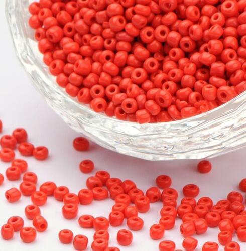 100 g Rouge Opaque Verre Perles de rocaille 11//0 2 mm 8//0 3 mm 6//0 4 mm