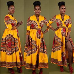 Women Cloak African Print Dashiki Casual Long Sleeve Party Evening MAXI Dresses