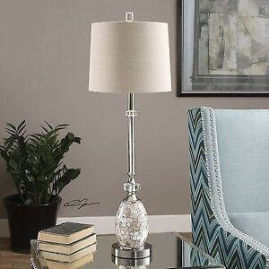 Slim Silver Capiz Shell Table Lamp Buffet Mother Of