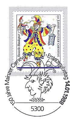 LiebenswüRdig Brd 1988: Mainzer Karneval Nr. 1349 Mit Sauberem Bonner Sonderstempel 1a! 1812 In Vielen Stilen