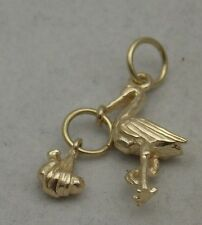 3D 9ct GOLD MOVING STORK & BABY CHARM