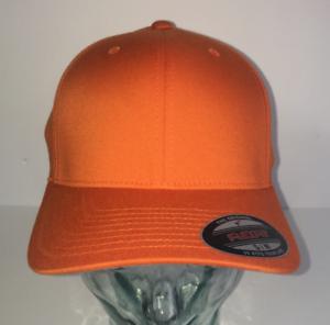 BNWT ORANGE PLAIN FLEXFIT STRETCHABLE BASEBALL CAP HAT VARIOUS SIZES