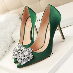 UK-Womens-Stiletto-Shoes-Rhinestone-Slim-High-Heels-Pointy-toe-Pumps-Party-shoes