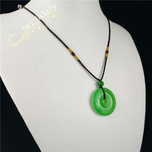 Vert naturel jade DONUT collier pendentif charme bijoux Lucky Boucle Amulette