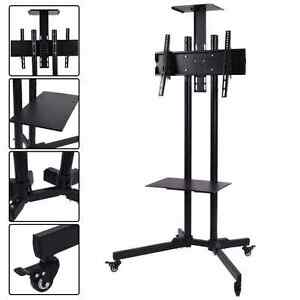 heavy duty adjustable portable tv stand cart school industrial mobile 32 65 ebay. Black Bedroom Furniture Sets. Home Design Ideas