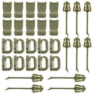 Pack of 30 OD Green D-ring Grimloc Locking Clip Elastic String Set for Molle Bag