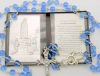 Mrt Our Lady Of Fatima Gift Set Prayer Folder Car Visor Metal Plaque & Rosary