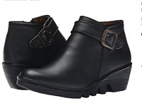 FLY LONDON PARY BLACK LEATHER WEDGE CHELSEA ANKLE BOOTS BOOTIES UK 4 /37 RRP £95