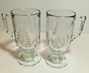 Indiana-Glass-VTG-Christmas-Tree-Irish-Footed-Pedestal-Coffee-Mugs-Cups-S-2