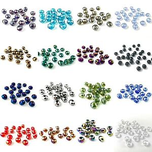 40-Quality-Crystal-AB-12x9mm-Faceted-Rondelle-Beads-All-Colours