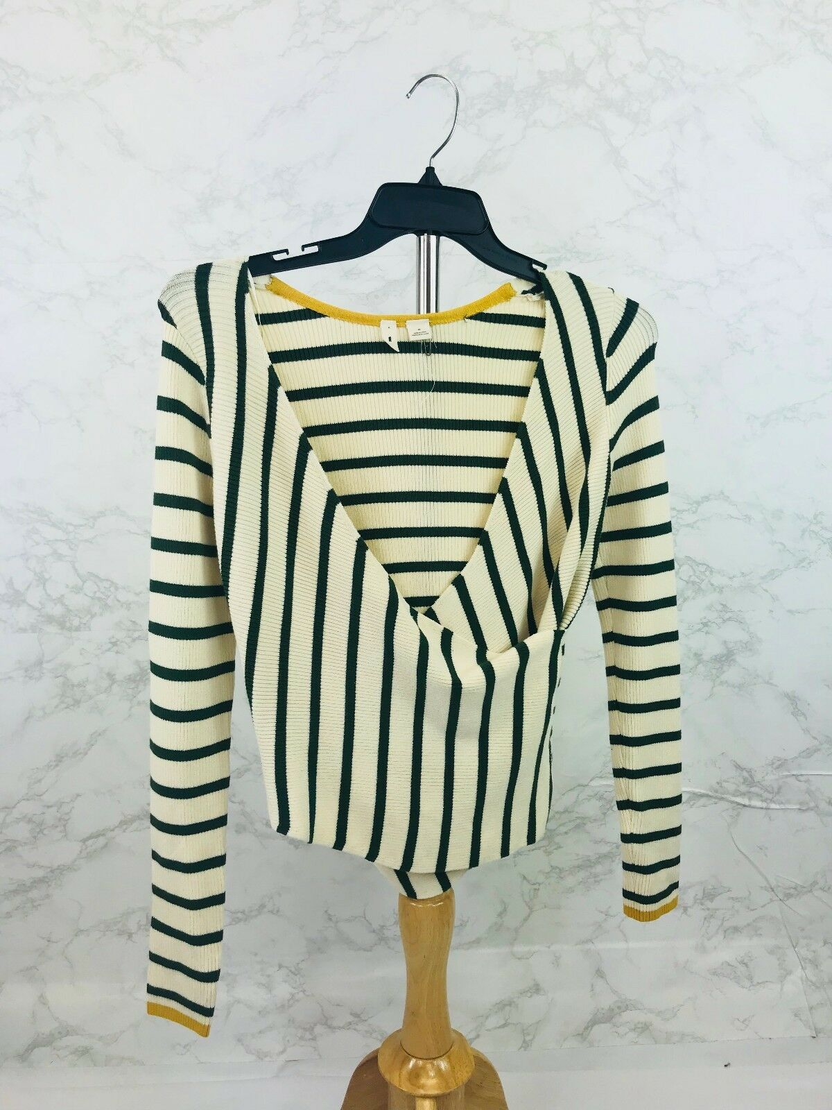 Anthropologie Moth Ivory and Green Stripe Cross Front Sweater S