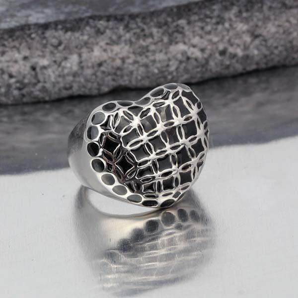 Fashion Stainless Steel Women's Black Enamel Charm Heart Ring US Size 7 8 9 10