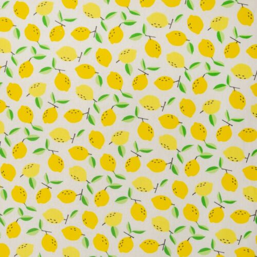 toiles cirées motif citrons Luna 160 cm blanc//jaune Tissu coton enduit
