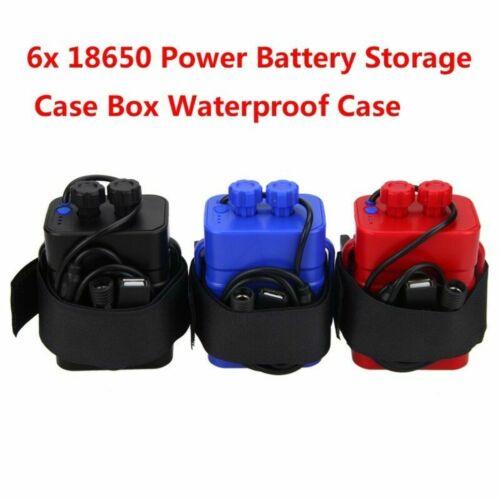 Waterproof 8.4v USB 6x18650 Battery Storage Case Box Case Holder For Bike Light