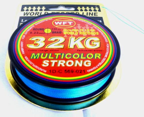 WFT 32KG MULTICOLOR STRONG RUNDGEFLOCHTENE Angelschnur 0,09€//m 0.22mmØ 130m