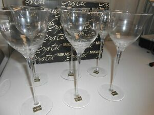 "Vintage Mikasa Starburst Crystal Water Wine Goblets9"" SET OF 6 FREE SHIPPING"